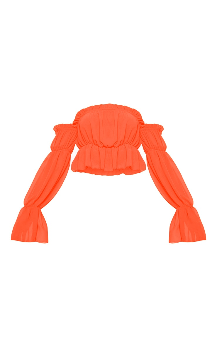 Neon Orange Woven Ruffle Bardot Flared Sleeve Blouse 3