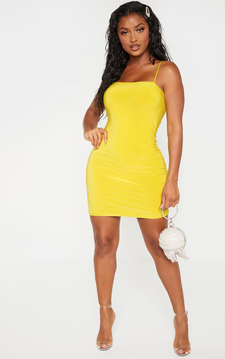 Shape Chartreuse Slinky Strappy Mini Dress 4