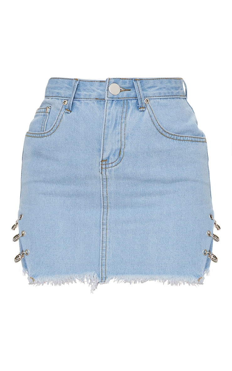 Petite Light Wash Chain Detail Denim Mini Skirt 3