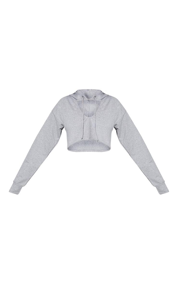 Shape Grey Crop Open Neck Hoodie 4