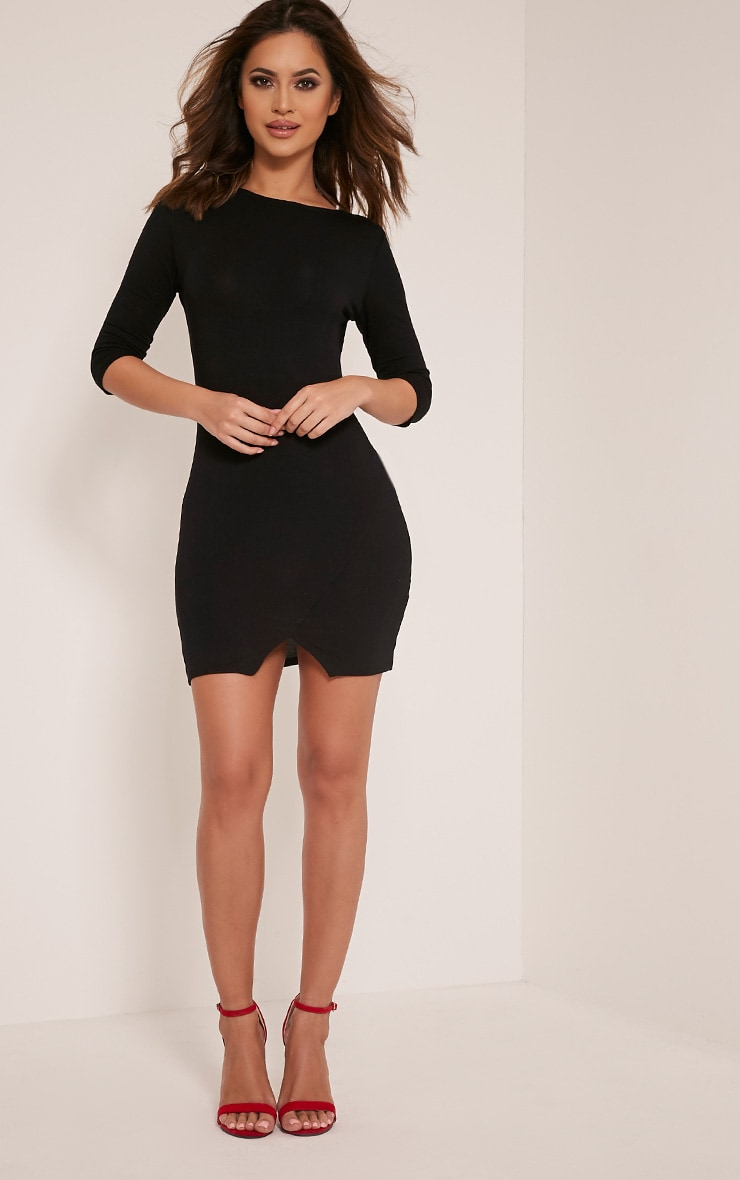 Basic Black Scoop Back V Hem Dress 5
