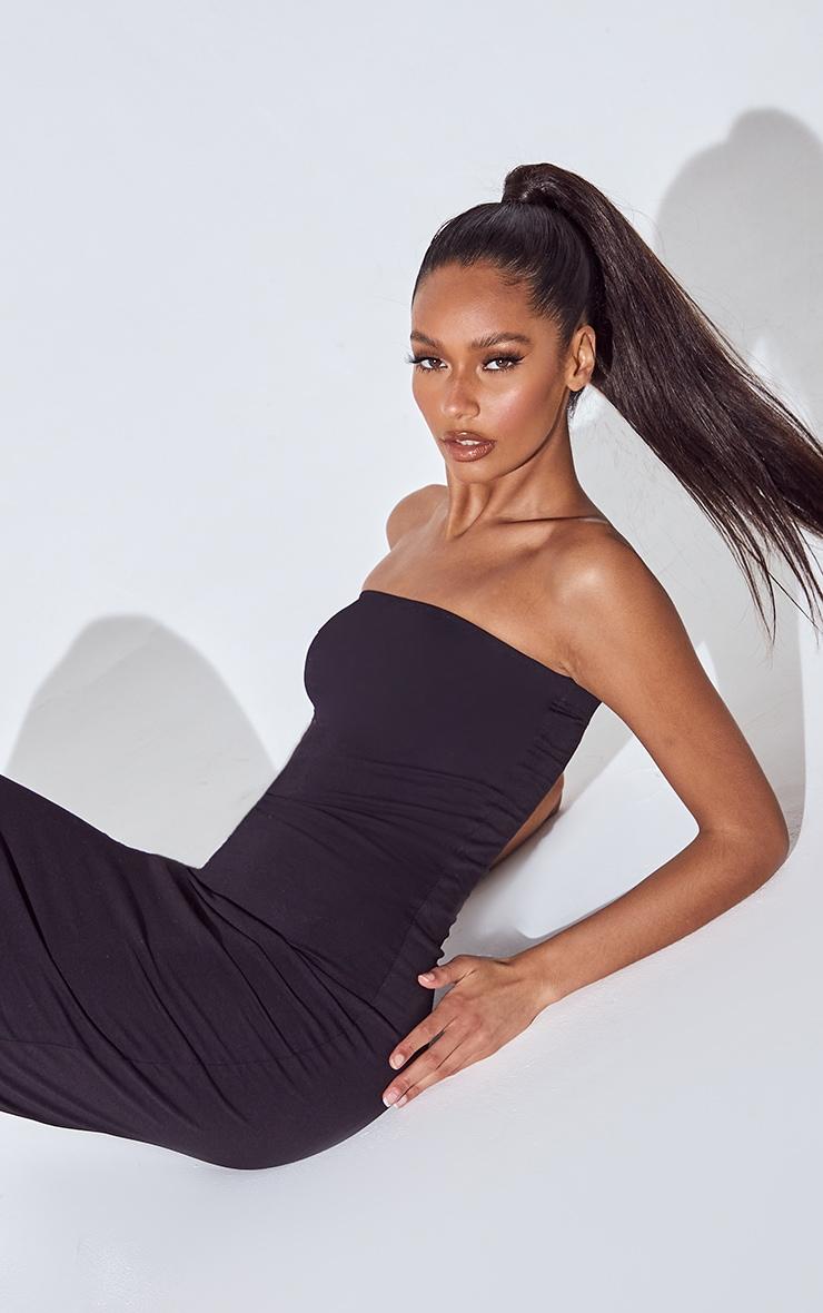 PLT Essentiel - Longue robe bandeau noire basique 4