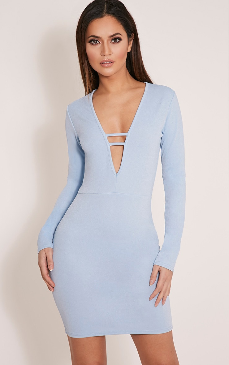 Arya Dusty Blue Strap Detail Plunge Bodycon Dress 1