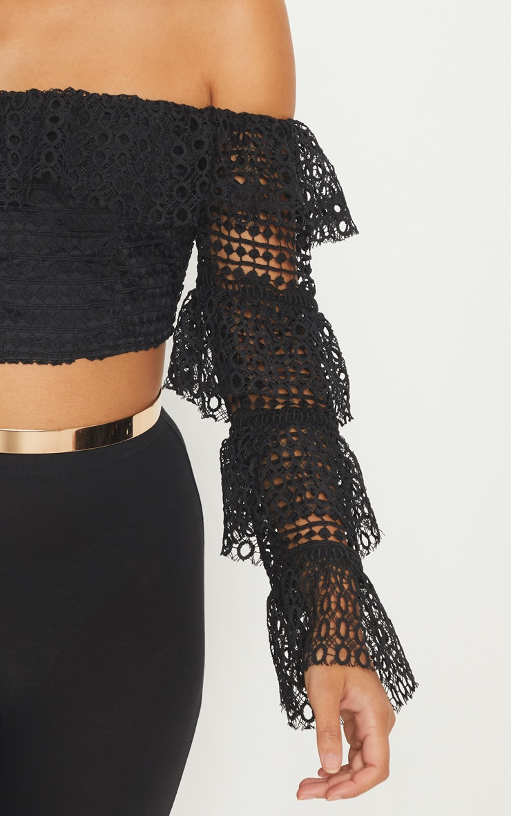 Black Lace Crop Tiered Sleeve Top 5