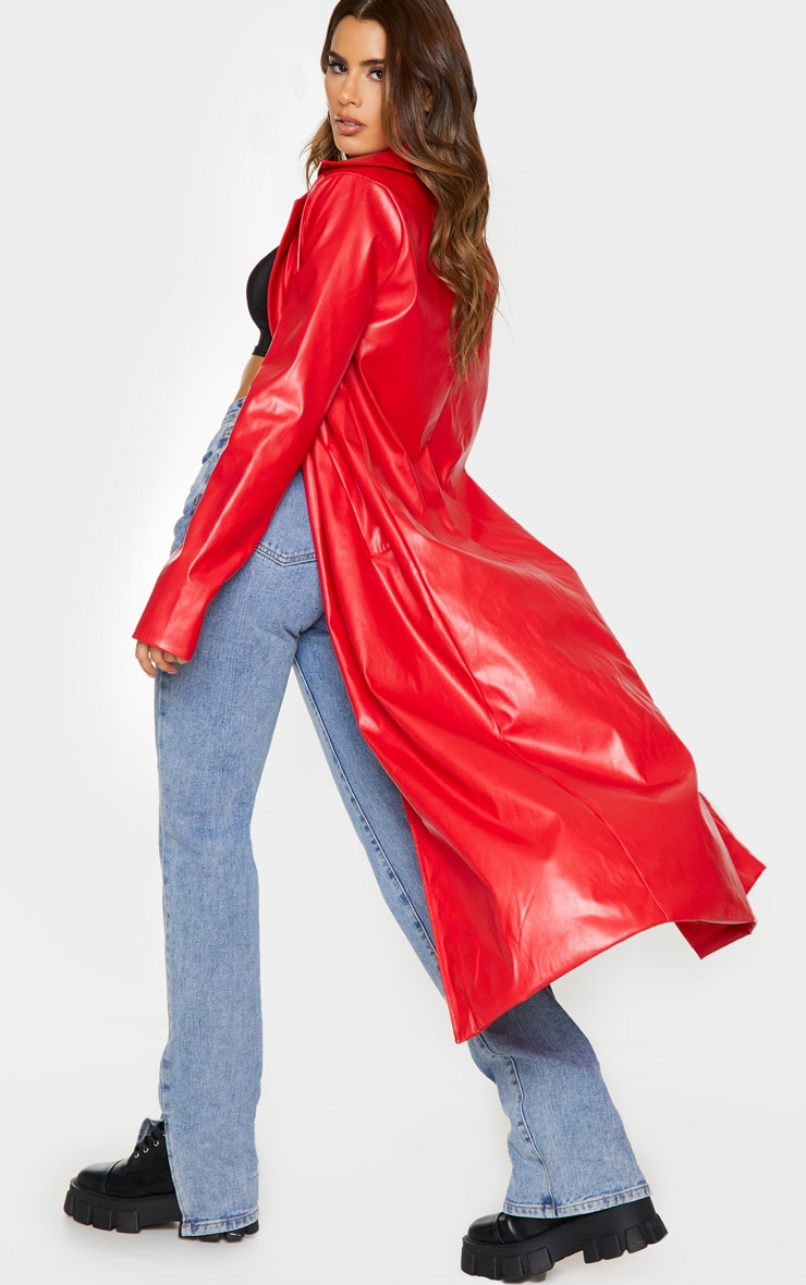Tall Red PU Longline Trench 2