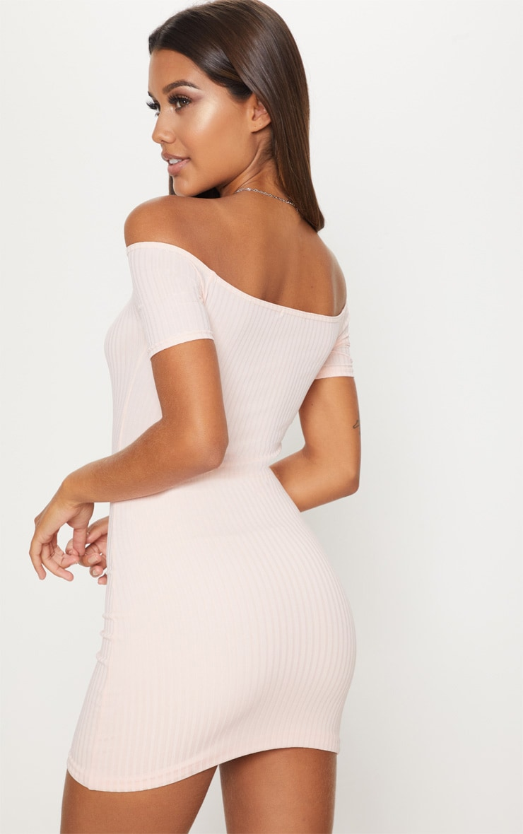 Dusty Pink Ruched Front Bardot Bodycon Dress 2