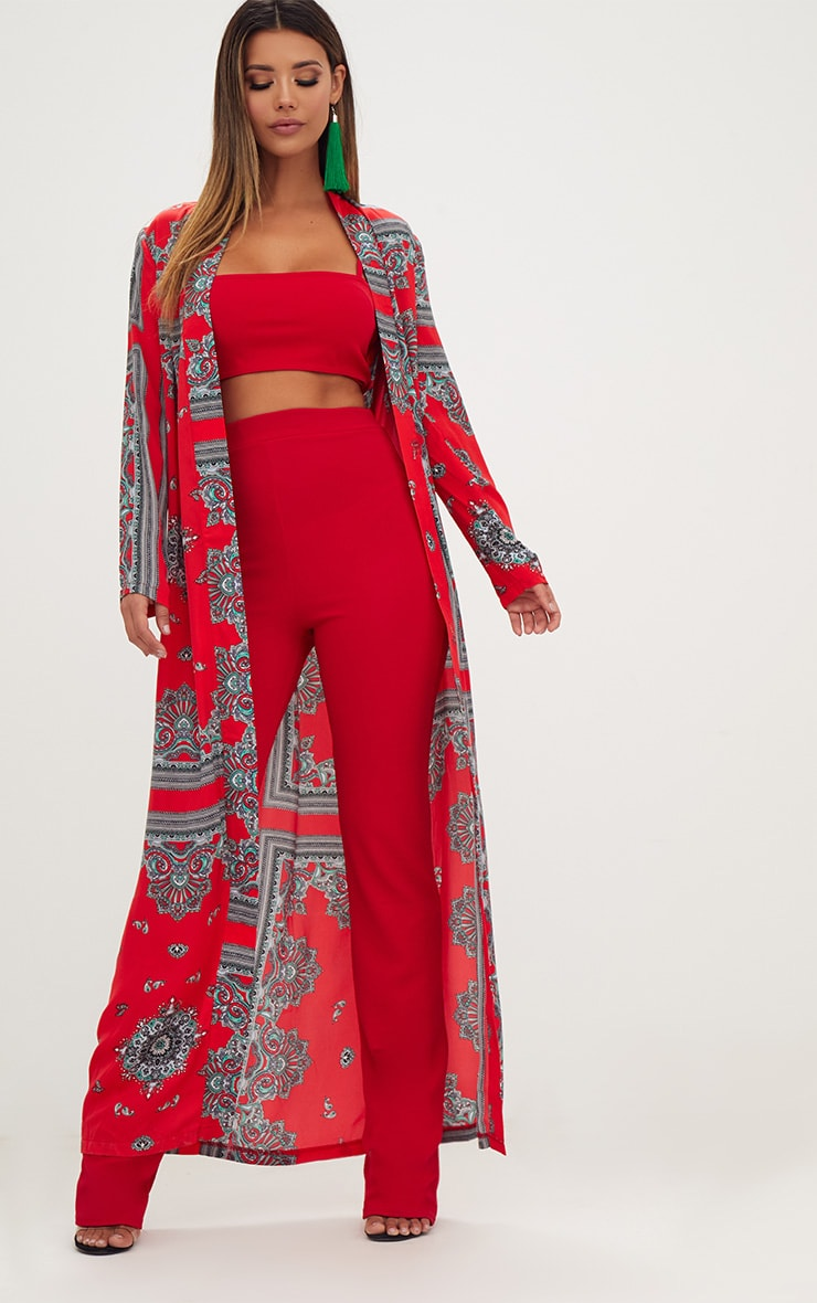 Red Silky Paisley Duster Coat 1