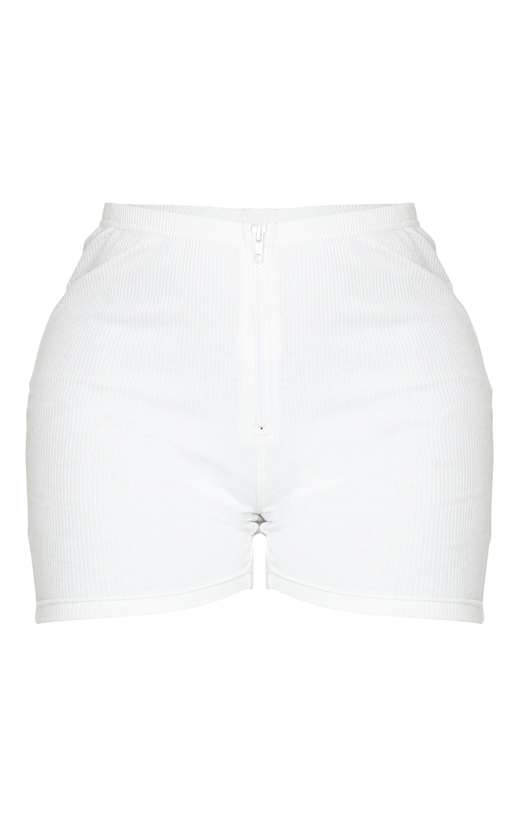 Shape Cream Rib Zip Front Cycling Shorts 6