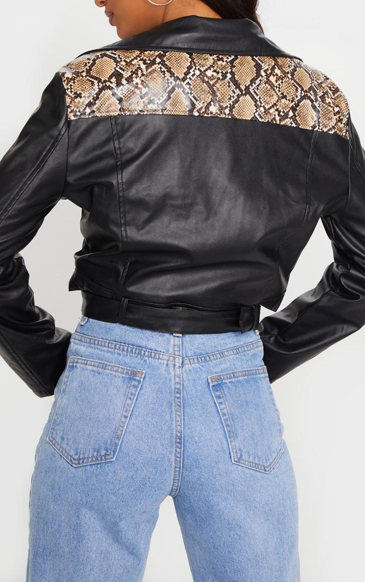 Black Faux Leather Snake Print Contrast Biker Jacket 4