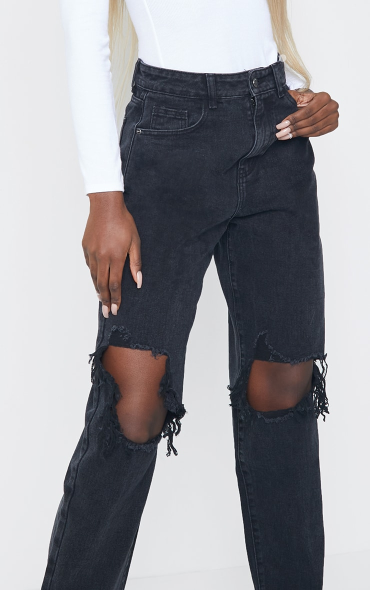 PRETTYLITTLETHING Tall Washed Black Extreme Ripped Hem Boyfriend Jeans 4