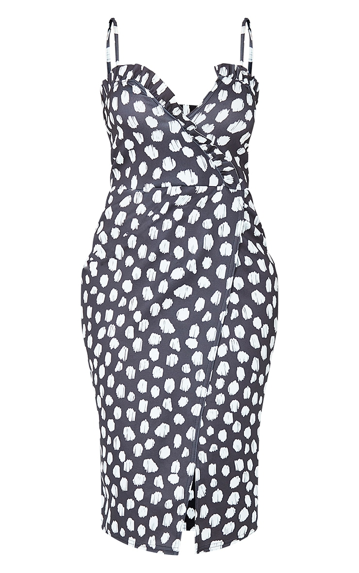 Black Dalmatian Frill Detail Wrap Midi Dress 5