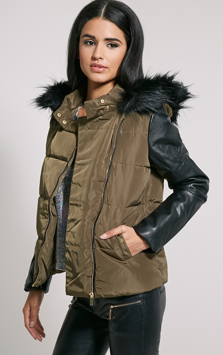 Joelle Khaki Faux Leather Sleeve Fur Hood Jacket 1
