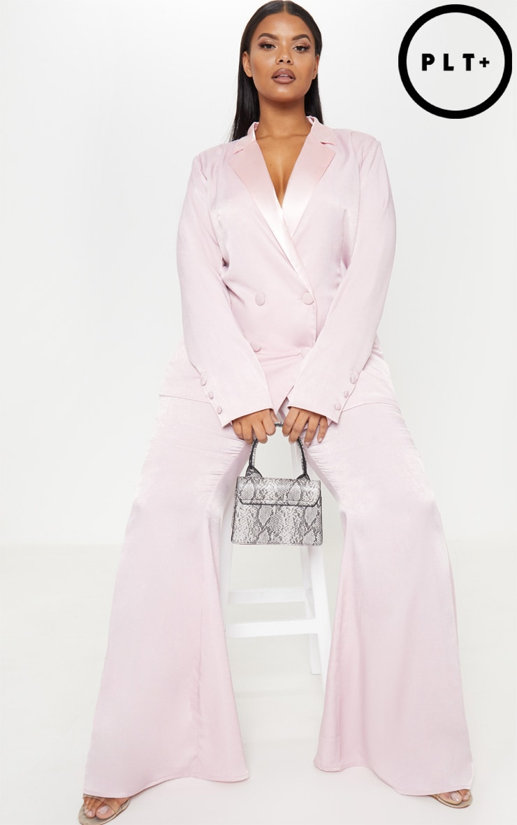 Plus Light Pink Tailored Extreme Flared Pants 1