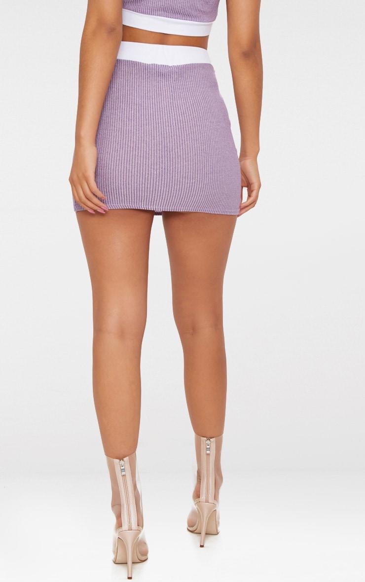 Lilac Contrast Rib Mini Skirt  4