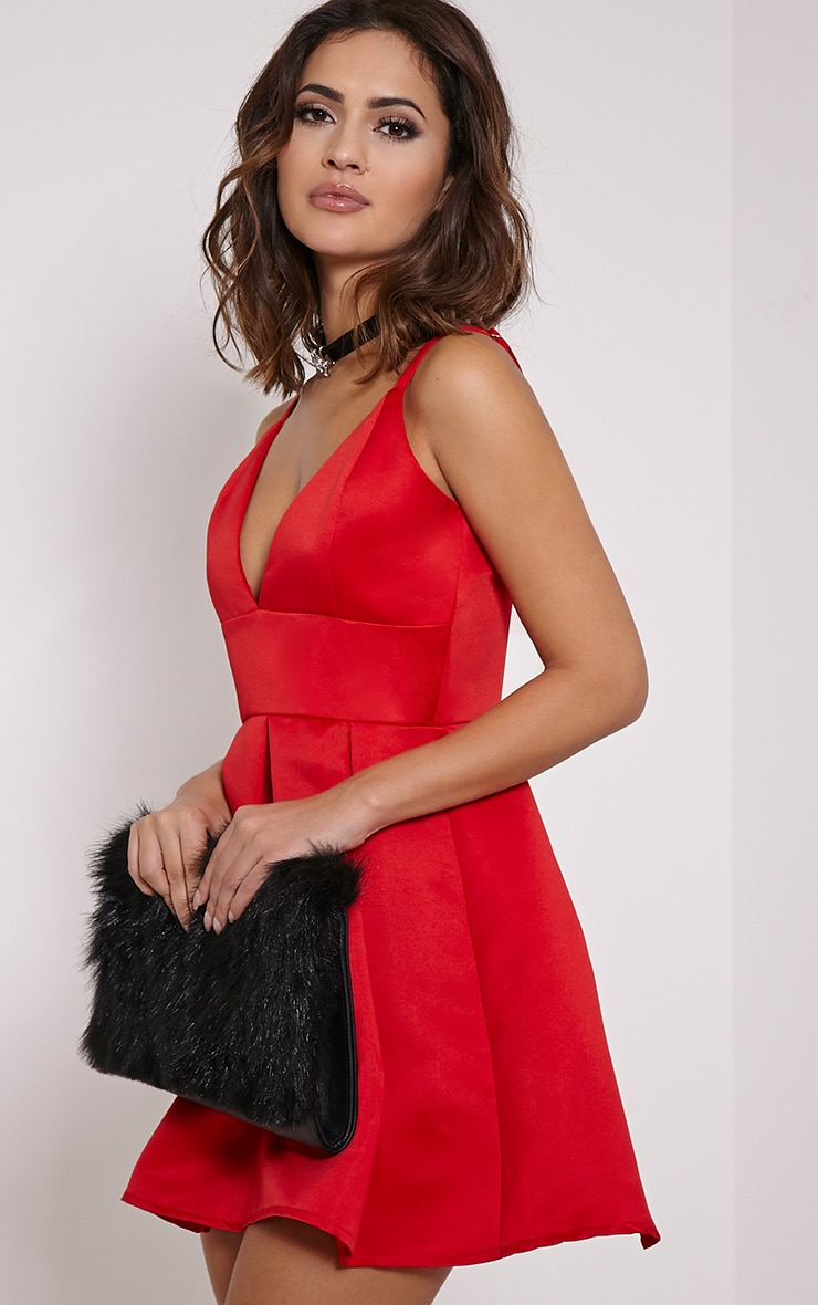 6a15d9efe01 Annora Red Satin Strappy Skater Dress image 5