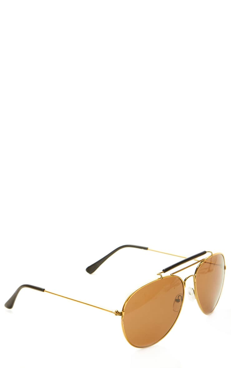 Lila Gold Frame Black Bar Aviators 4