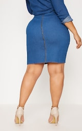 10ef636b1041 PLT Plus - Jupe mi-longue en jean à délavage moyen avec couture derrière  image