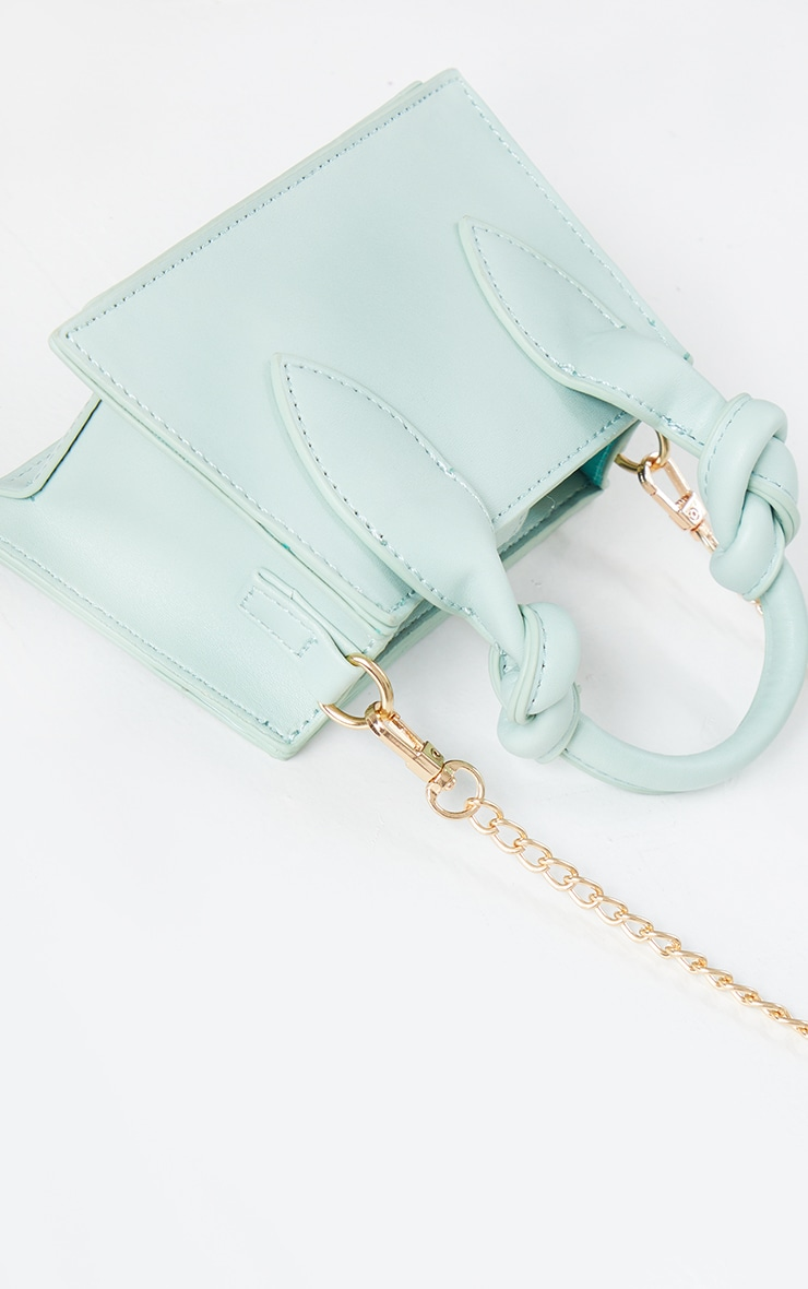 Mint PU Knotted Single Handle Cross Body Bag 4