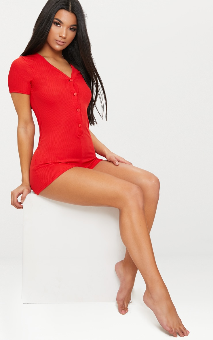 Red Ribbed Button Detail Short Sleeve PJ Romper 4