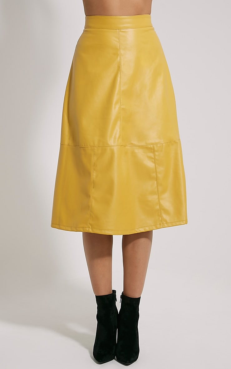 Alison Mustard Faux Leather A-Line Midi Skirt 2