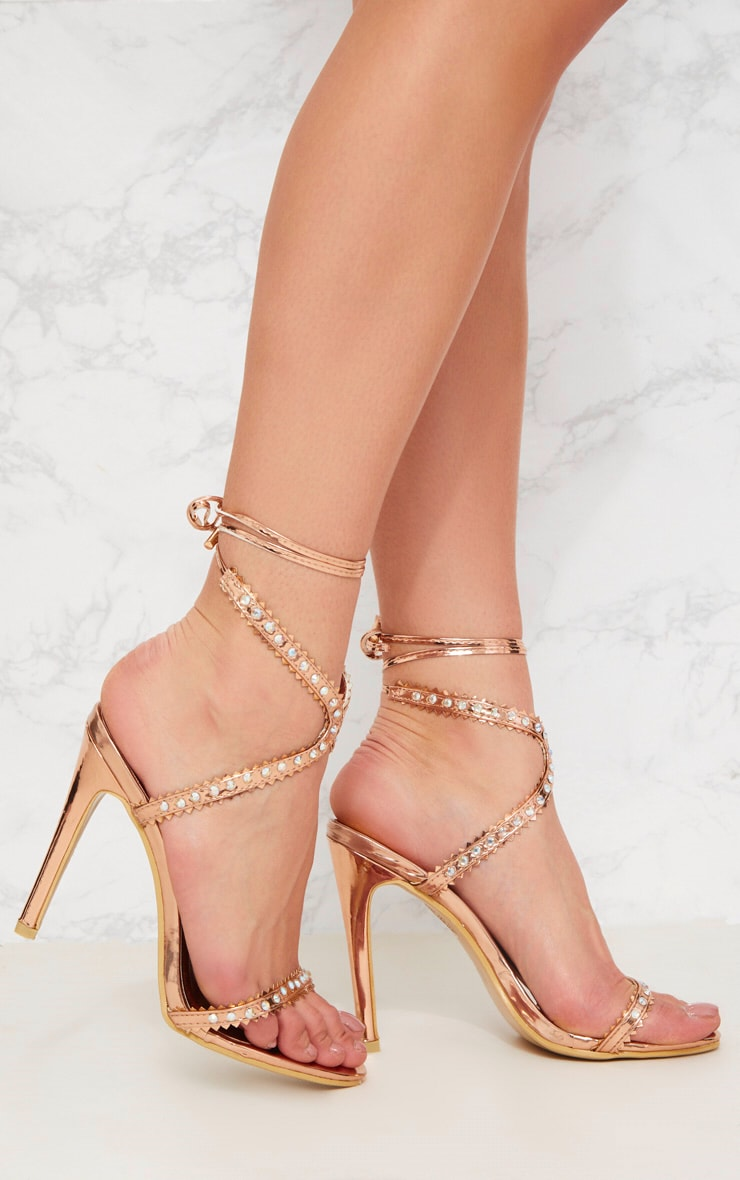 Rose Gold Diamante Cross Front Sandal 1
