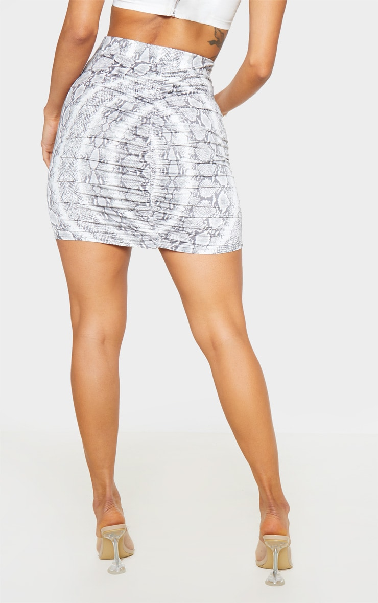 Snake Print Ruched Seam Detail Mini Skirt  4