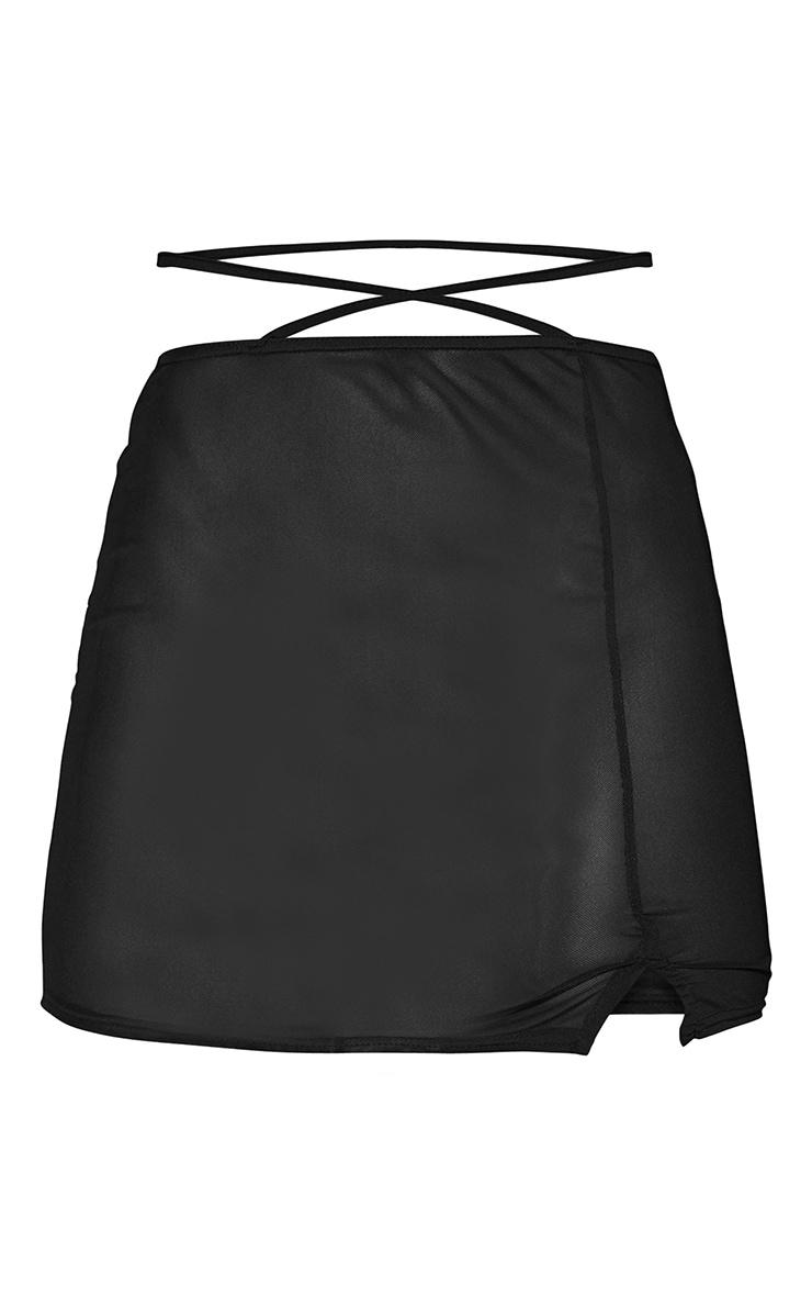 Black Mesh Tie Waist Split Hem Mini Skirt 6