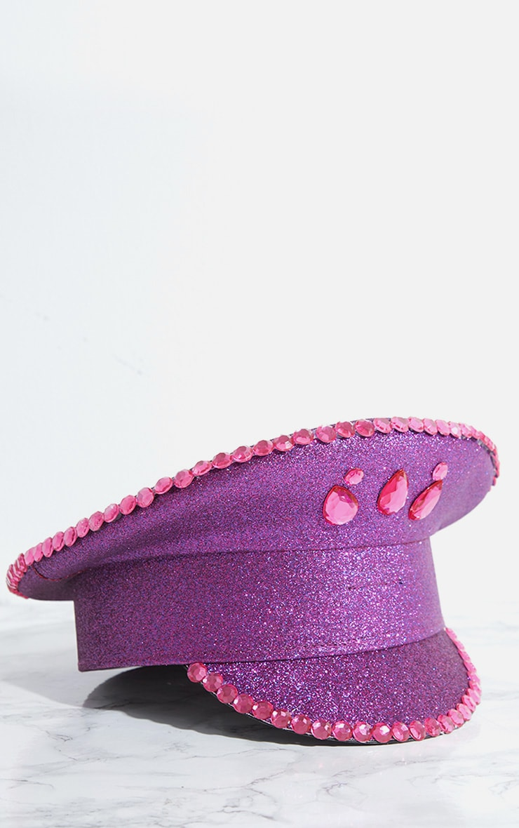 Purple Diamante Festival Captain Hat 4