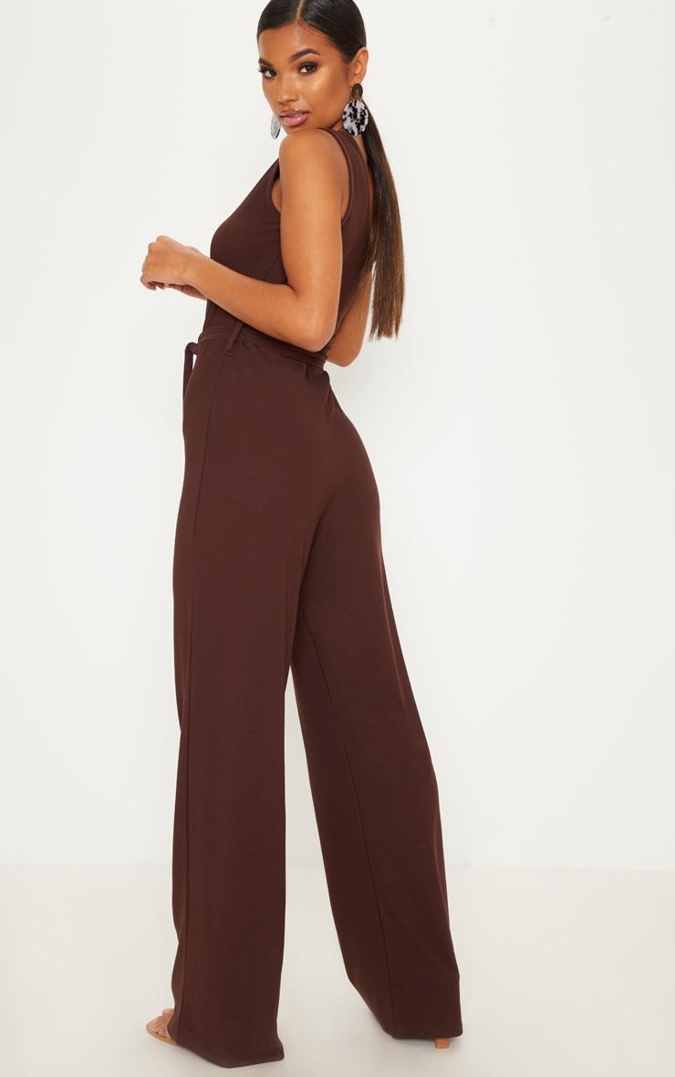 Chocolate One Shoulder Tie Waist Jumpsuit 2