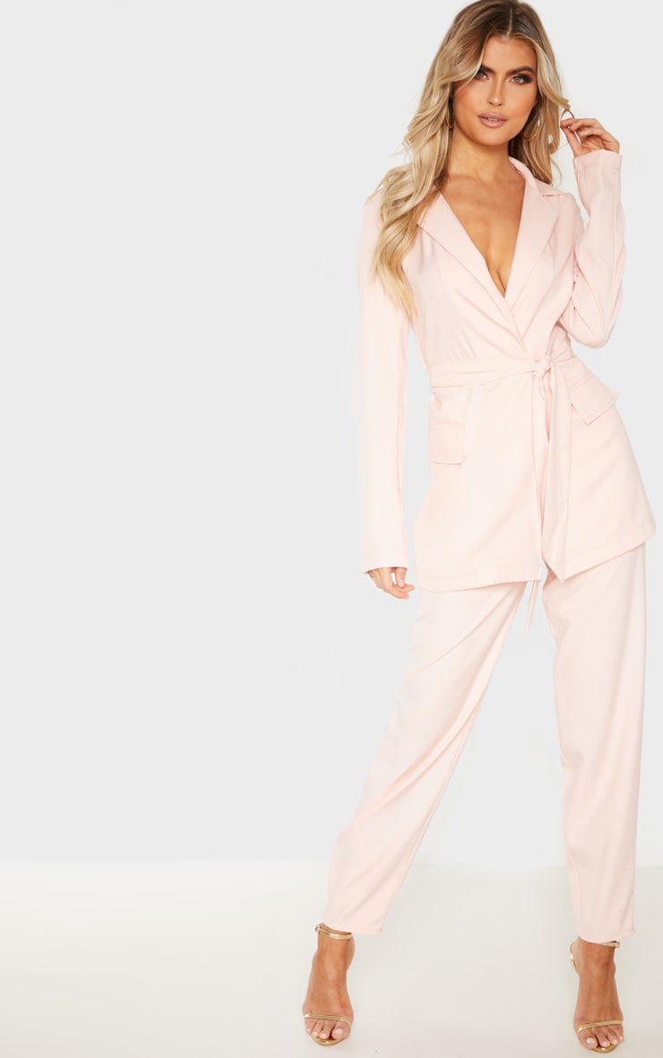 Tall Dusty Pink Wide Leg Slim Cuff Suit Pants 1