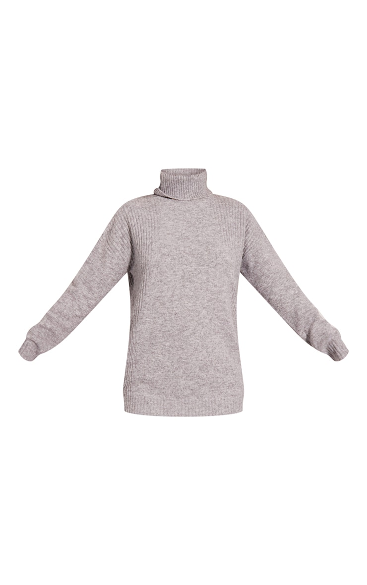 Recycled Grey Knitted Slouchy Roll Neck Sweater 5