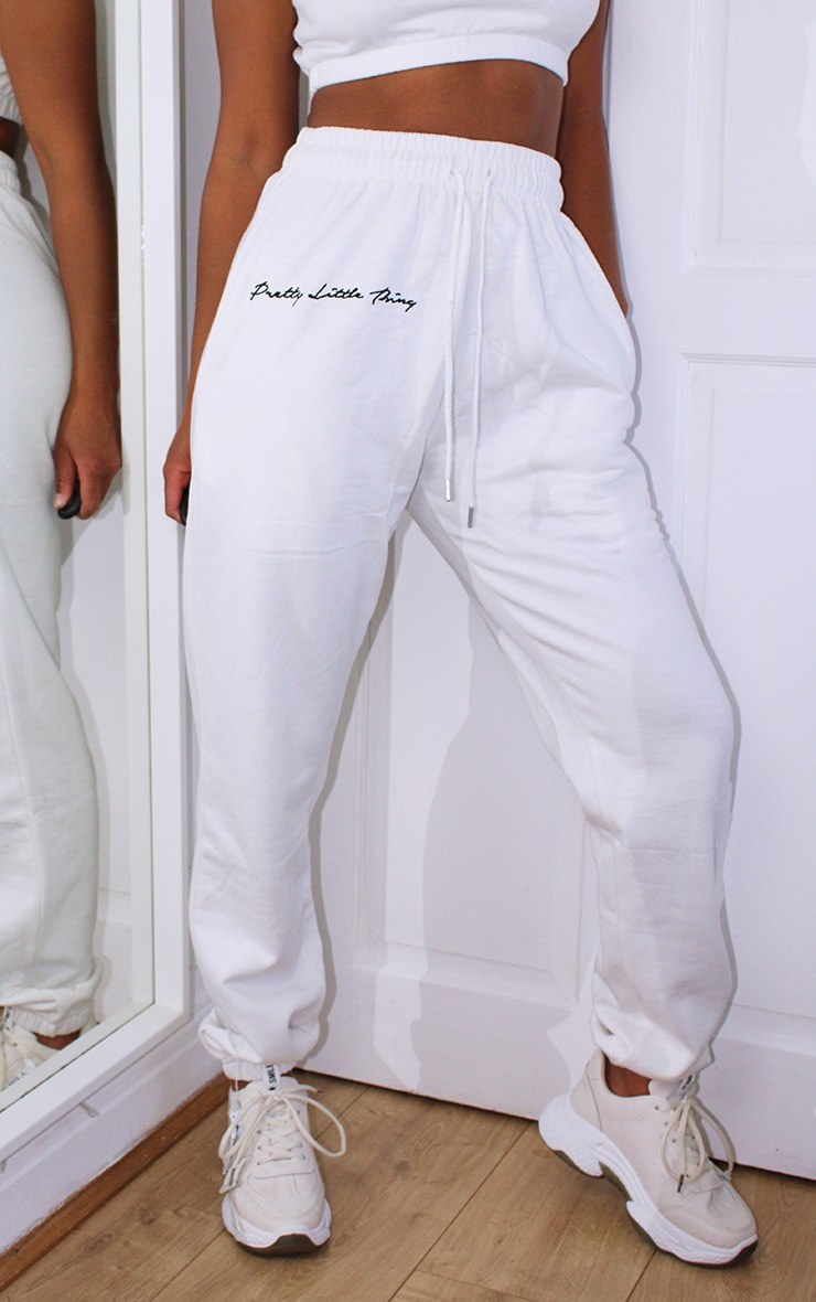 PRETTYLITTLETHING Petite White Embroidered Oversized Jogger 2