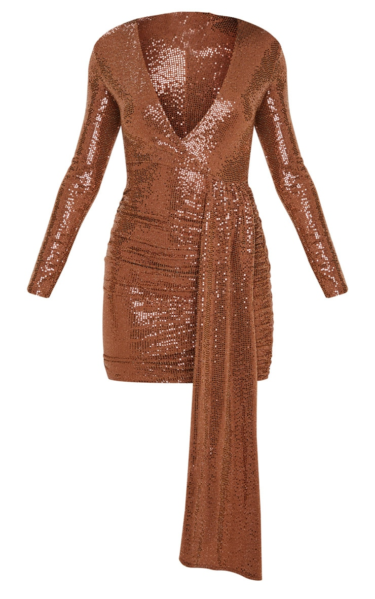 Bronze Sequin Plunge Bodycon Dress 3