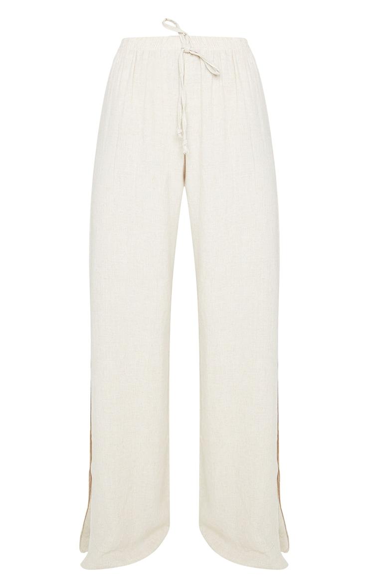 Pantalon évasé effet lin nude à détail fendu 5