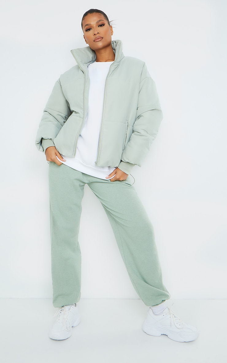 Sage Green Oversized Peach Skin Cuff Puffer Jacket
