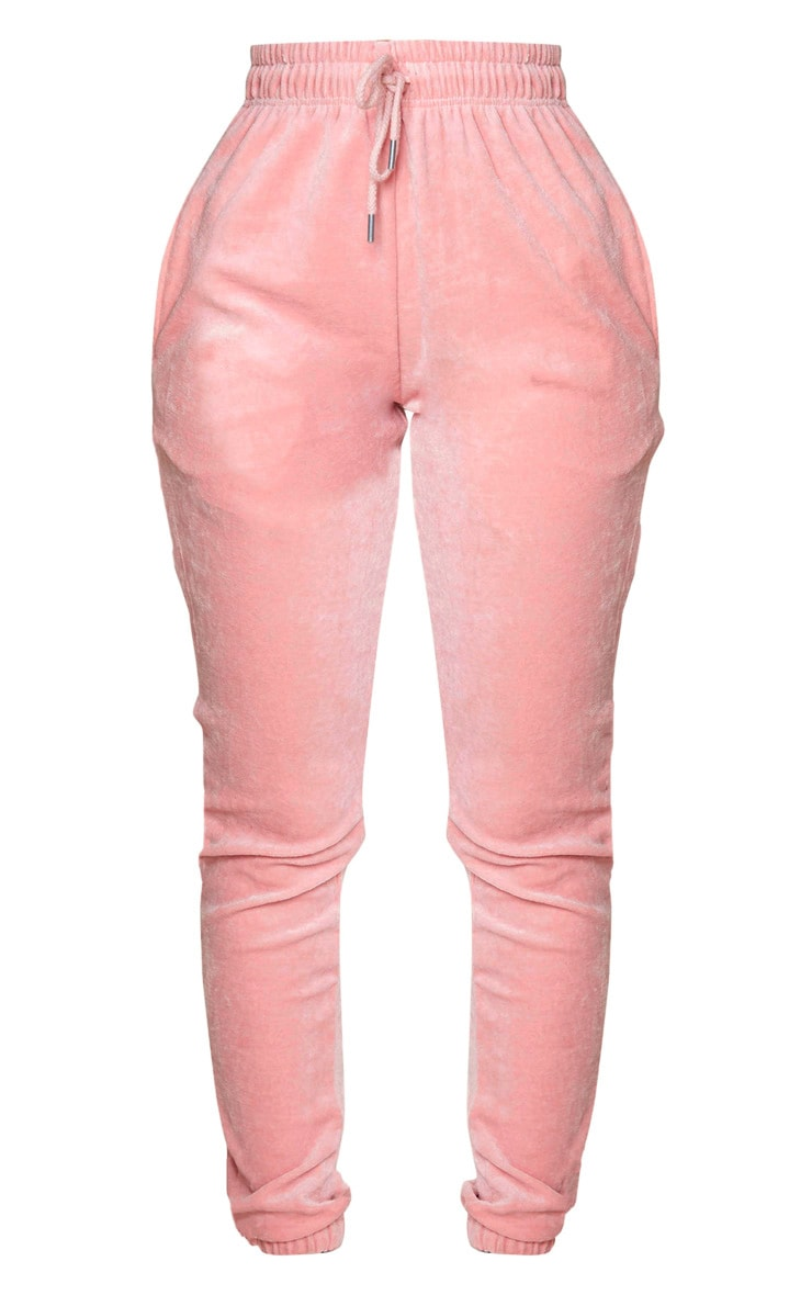 PRETTYLITTLETHING Shape Baby Pink Velour Skinny Joggers 5