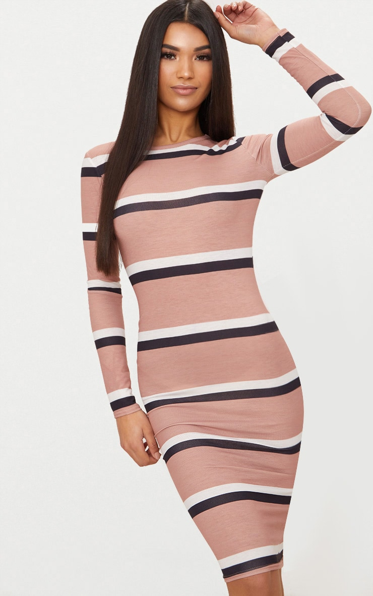 40ab8dfe Nude Striped Long Sleeve Midi T Shirt Dress | PrettyLittleThing USA