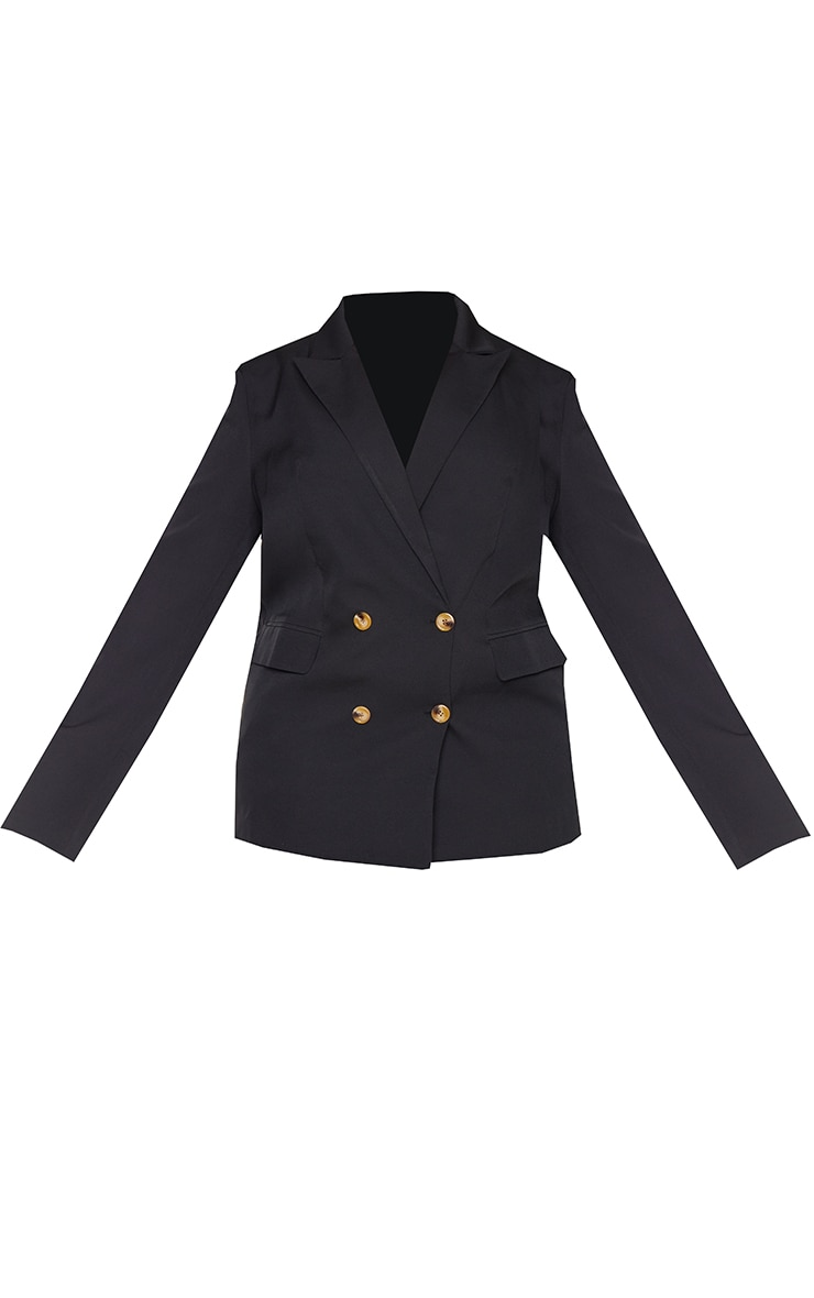 Plus Black Woven Shoulder Padded Oversized Blazer 5