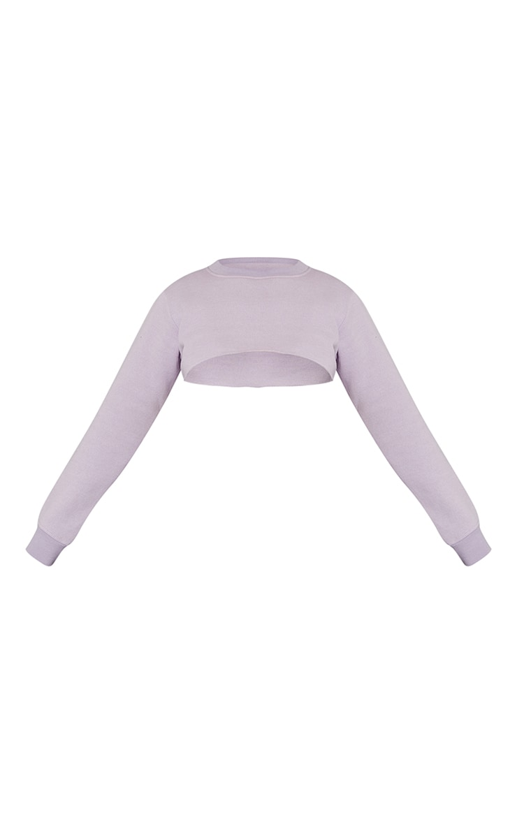 Lilac Super Crop Raw Edge Arm Warmer Sweat 5
