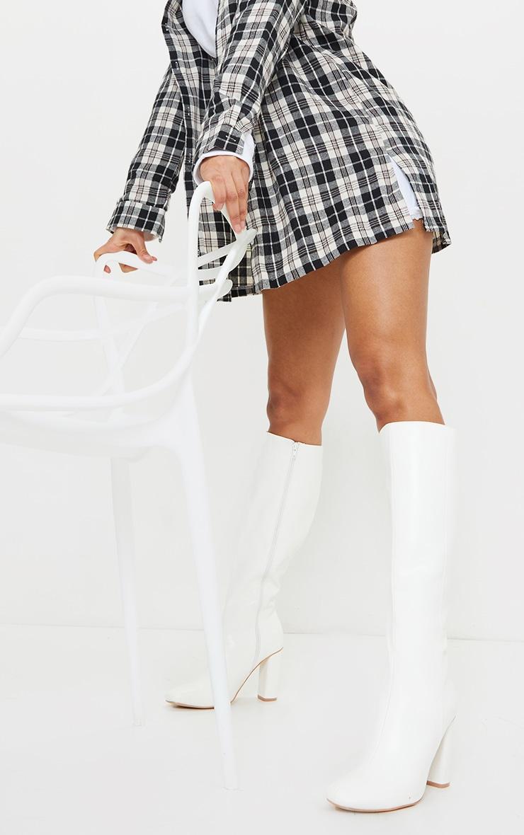 White Round Block Heel Knee High Boots 2