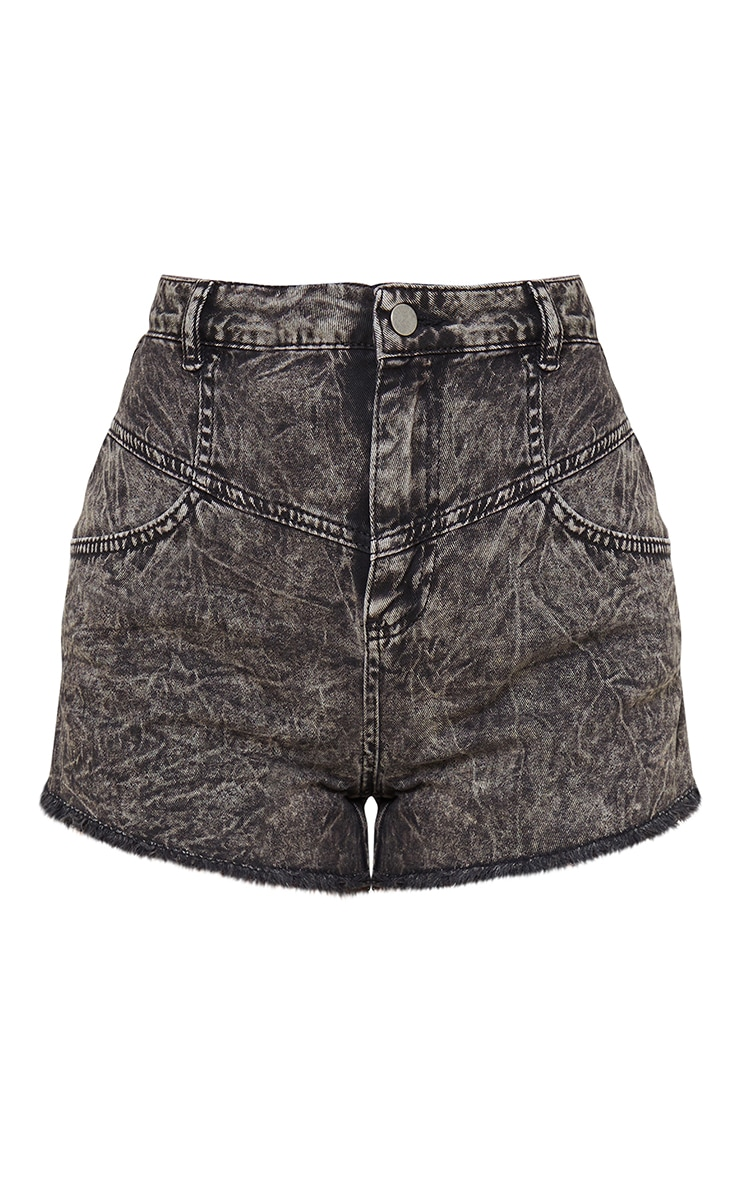 Short mom en jean noir effet javélisé taille haute 6