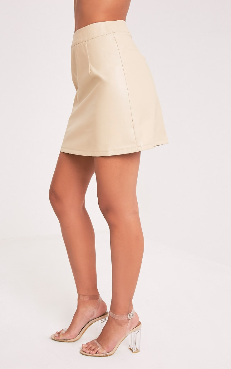 Rose Stone Faux Leather A-Line Mini Skirt 4