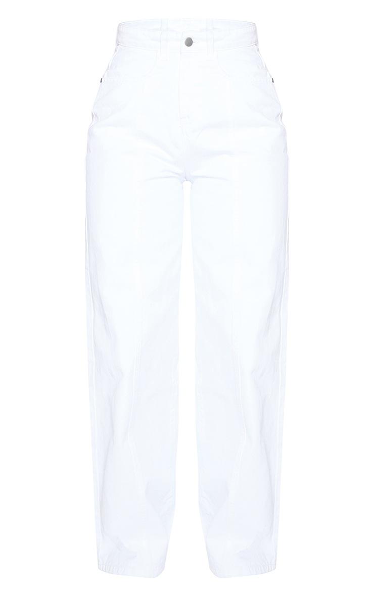 White Seam Front Wide Leg Jeans 5