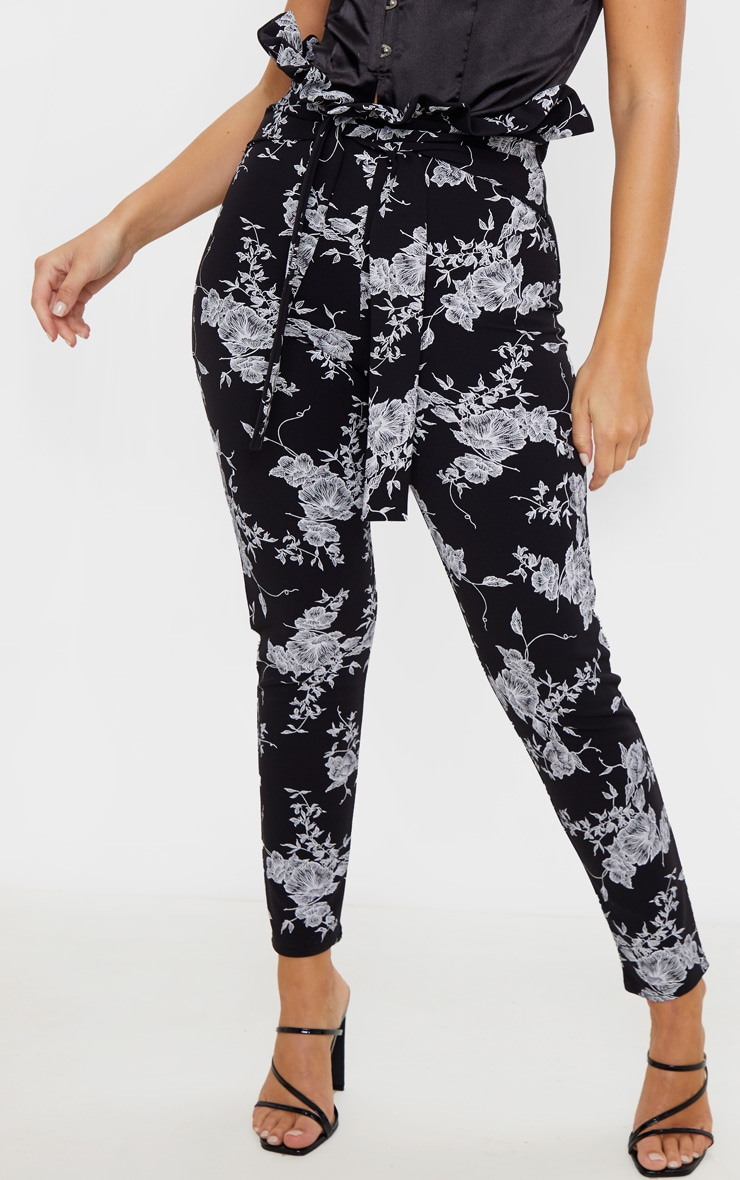Black Floral Paperbag Skinny Pants  2
