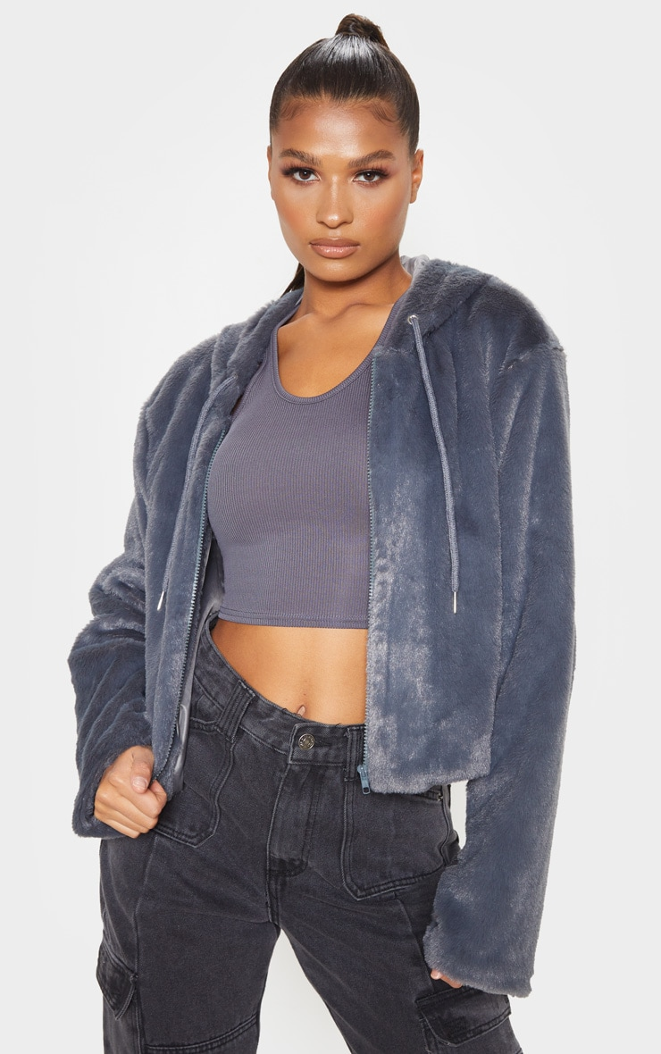 Charcoal Faux Fur Cropped Hooded Jacket  1