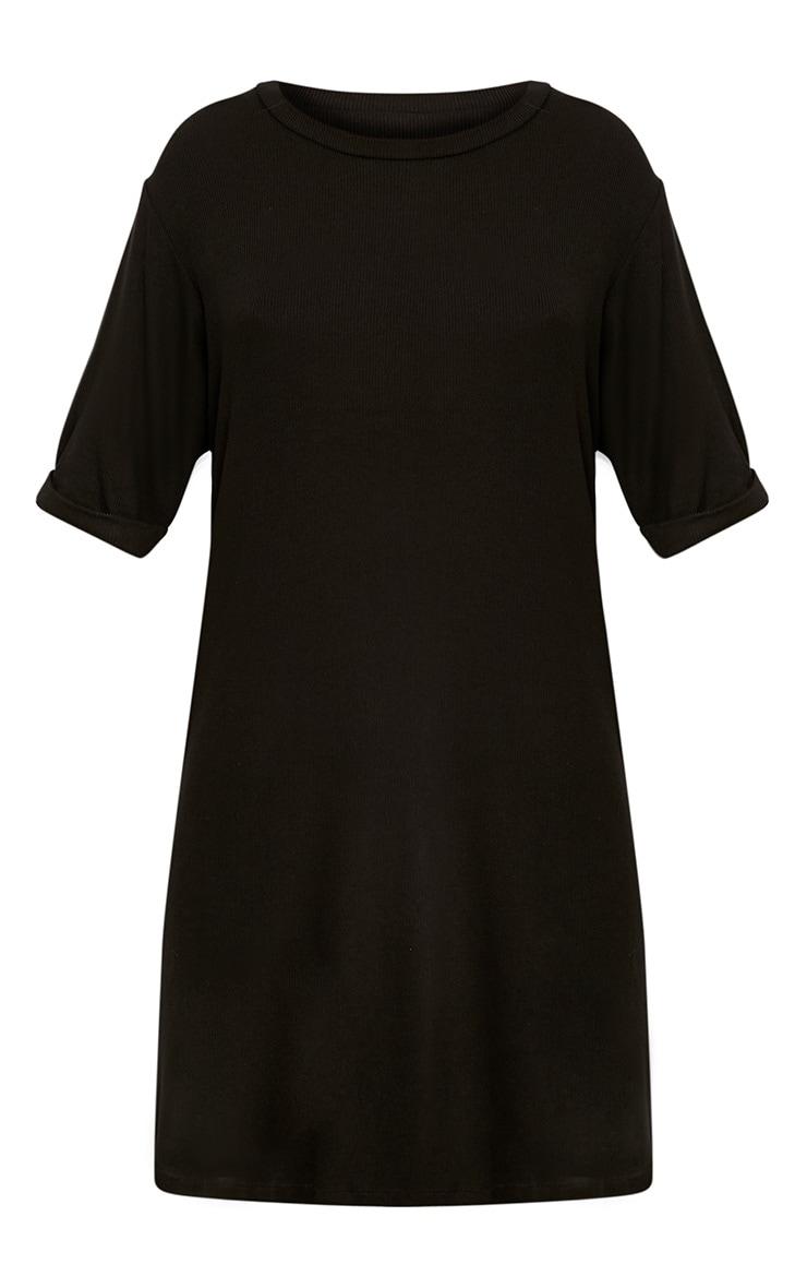 Kannah Black Ribbed Roll Sleeve Oversized T Shirt Dress  3
