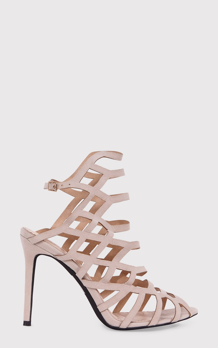 Haiti Nude Suede Strappy Caged Heels 1