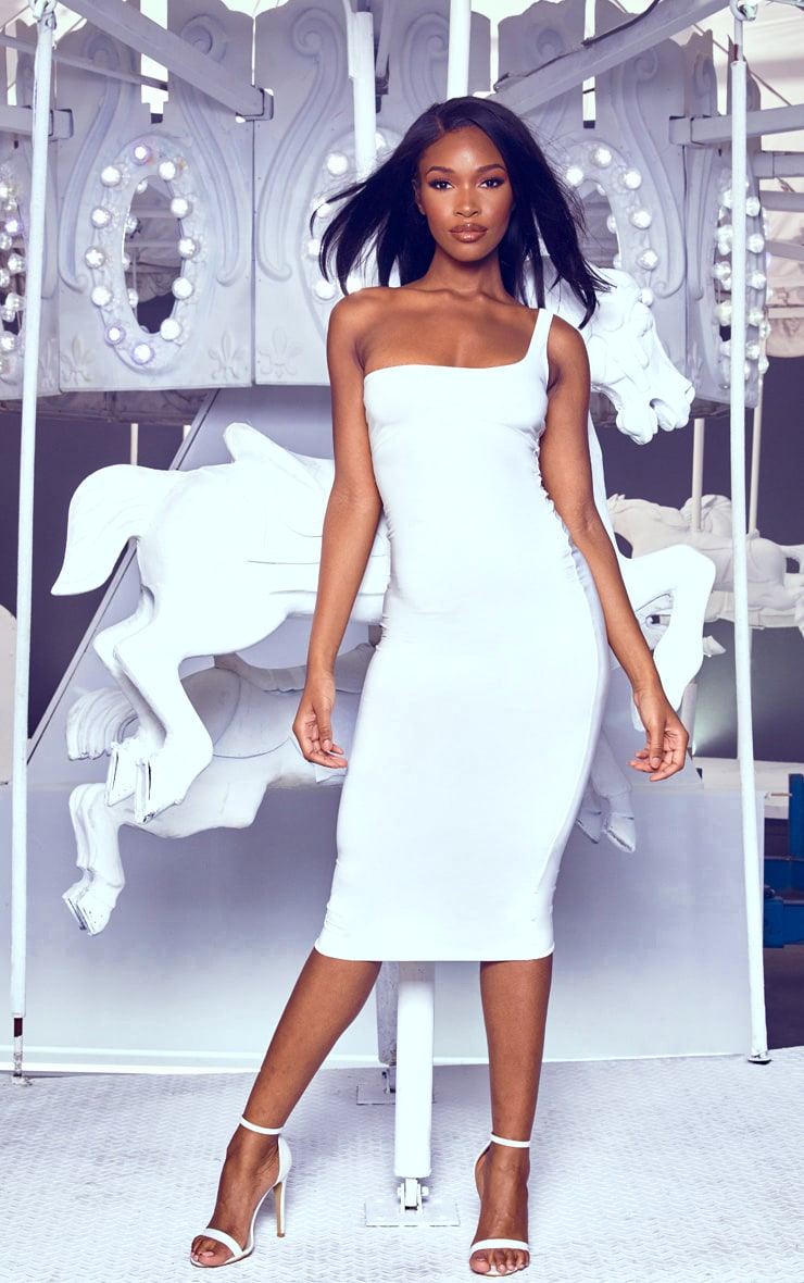 White One Shoulder Midaxi Dress 4