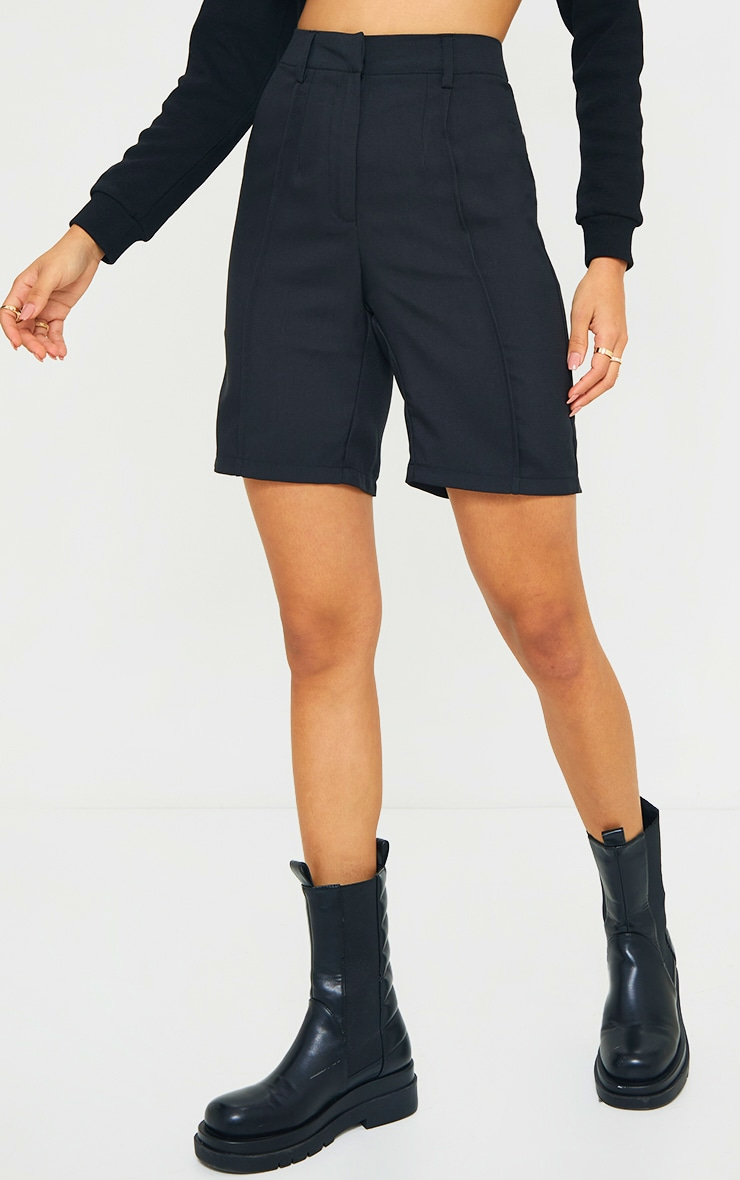 Black Woven High Waisted Tailored Short 2