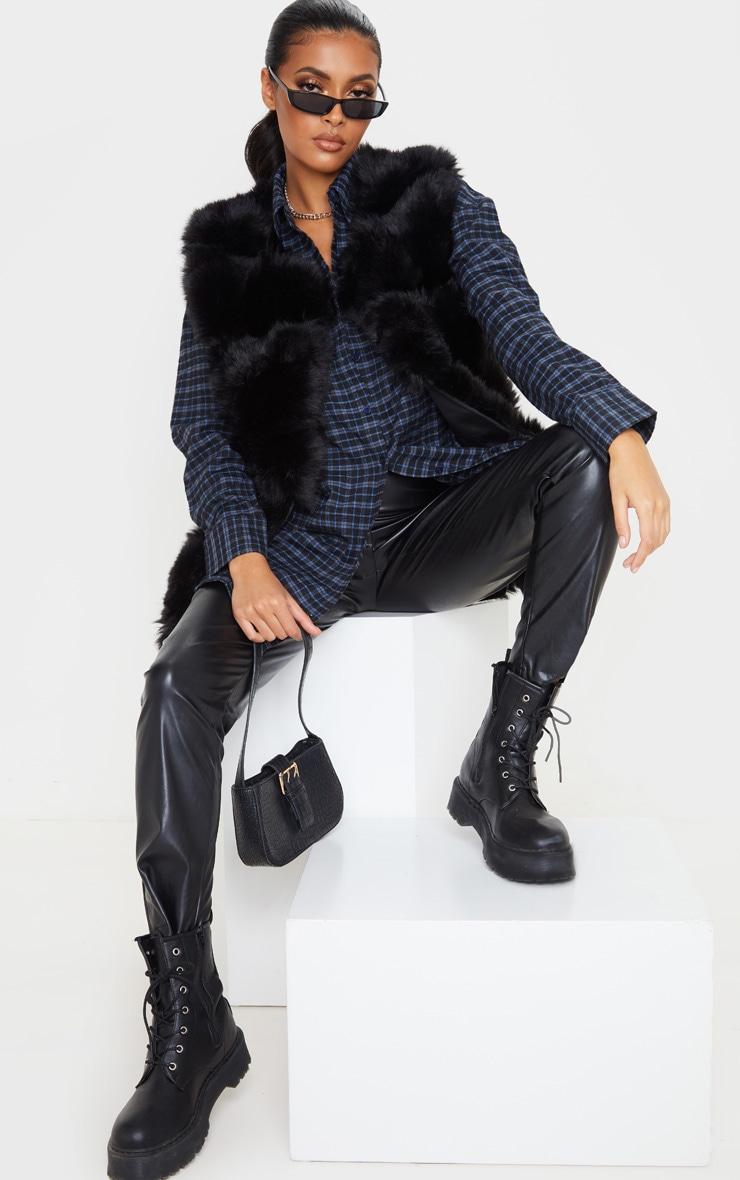Black Faux Fur Longline Gilet 4